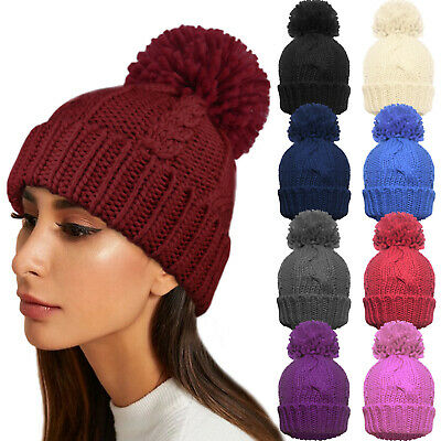 Ladies Warm Winter Knitted Cable Beanie Bobble Woolly Pom Pom Hat Soft Plain