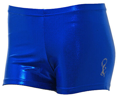 Gymnastic Leotard Shorts Girls Gym Dance metallic Sheen RB FAST DELIVERY UK