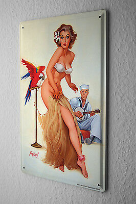 Tin Sign Baron sexy pinup girl with hula skirt macaw parrot opens sailor Vintage