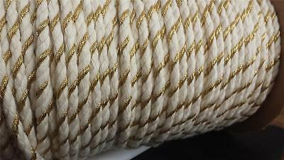 "2 yards natural  gold round cotton twisted cord string  5/16"" W SHIP FROM USA"