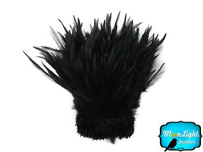 1 Yard - Black Strung Rooster Neck Hackle Wholesale feathers Halloween Supplier