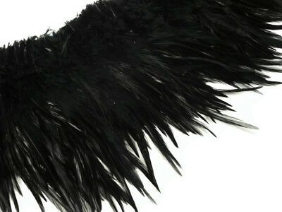 4 Inch Strip - Black Strung Rooster Neck Hackle Feathers Craft Fly Tying Costume
