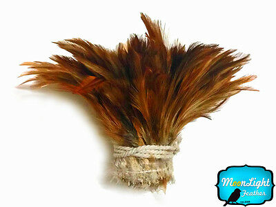 1 Yard - NATURAL RED Strung Rooster Neck Hackle Wholesale feathers (bulk)
