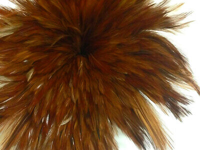 4 Inch Strip - NATURAL RED Strung Rooster Neck Hackle Feathers