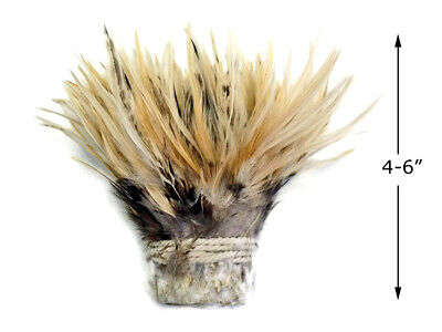 1 Yard - NATURAL CREAM Strung Chinese Rooster Saddle Wholesale feathers (bulk)