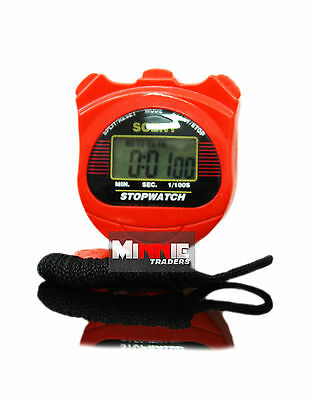 New Digital Sports HandHeld Red Stopwatch Time Stop Watch Alarm Counter Timer