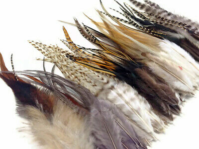 100 Pieces - Wholesale NATURAL Short Rooster Hair Extension Feathers (bulk)