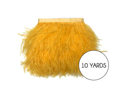 10 Yards - Golden Yellow Ostrich Fringe Trim Wholesale Feather (Bulk) Dress