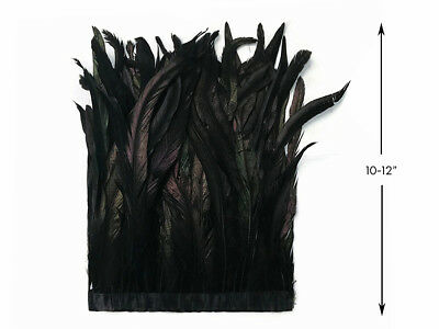 """1 Yard - 10-12"""" Black Bleach Coquetails Rooster Feather Trim Halloween Costume"""