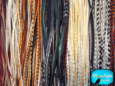 100 Pieces - Wholesale Natural Thin Long Rooster Hair Extension Feathers (bulk)