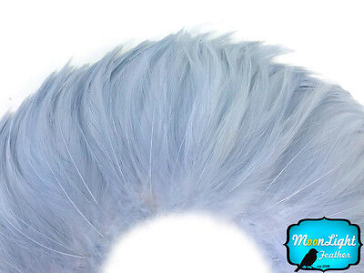 4 Inch Strip - Light Blue Strung Rooster Neck Hackle Feathers Craft Fly Tying