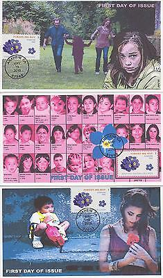 Jvc Cachets-2015 Forget Me Not Missing Child  Issue Set Of 3 First Day Cover Fdc
