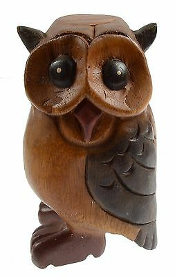 Hand Carved Wooden Painted Stained Hooting Owl Whistle Figurine Thailand NEW