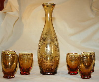 Vintage Glass Decanter Amber Glass Gold Overlay Decanter  Six Matching Cordials