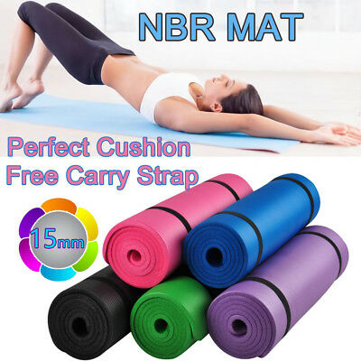 Free Postage  15MM NBR Super Thick Pilate Yoga Gym Mat Non Slip Free Carry Strap
