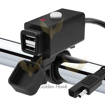 Waterproof Motorcycle 12V SAE to Dual USB Cell Phone Charger Cable Adapter GoPro