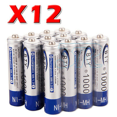 1.2V 1000mAH AAA Rechargeable Batteries NI-MH Recharge AU Stock 12x