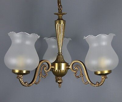 Vintage French  Chandelier  3 Arms Opalin Lampshade