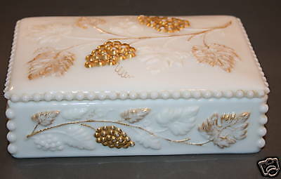 Westmoreland Glass Grape Leaf 22K Gold Cigarette Boxid White Covered Candy  Dish