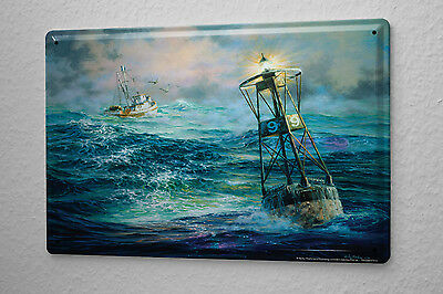 Maritime Decoration Tin Sign  Boats Light Buoy waves seagulls Decorative Wall Pl