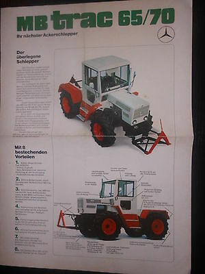 Prospekt Sales Brochure Mercedes Benz MB trac 65/70 Ackerschlepper Technisches