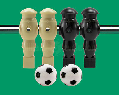 "2 Tan/2 Black Robotic Foosball Men for 5/8"" Rod + 2 Engraved Soccer Foosballs"