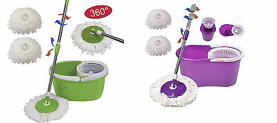 Magic Spin Mop Microfiber Spining  360° Rotating  Mop Easy Bucket 2 Heads (pink)