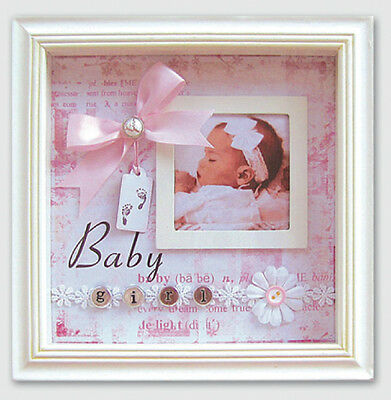 Scrapbook Style Embellished ~ BABY GIRL ~ Boxed Photo Frame   20 x 20 x 4 cm