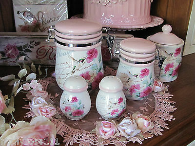 Ceramic White & Pink Shabby Roses Salt & Pepper Shakers