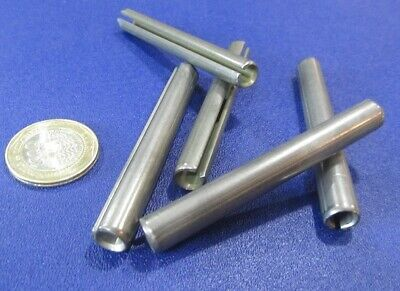 "420 Stainless Steel, Slotted Roll Spring Pin, 3/8"" Dia x 3.0"" Length, 5 pcs"