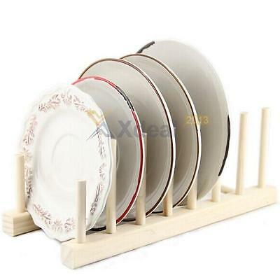 Wooden Plate Rack Wood Stand 6 Dishes Pans Pots Cups Plates Lid Display Holder