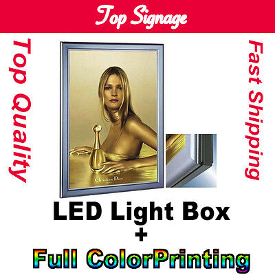 A2 LED LIGHT BOX SNAP FRAME  DISPLAY/SIGN  MENU BOARD BACKLIT with printing