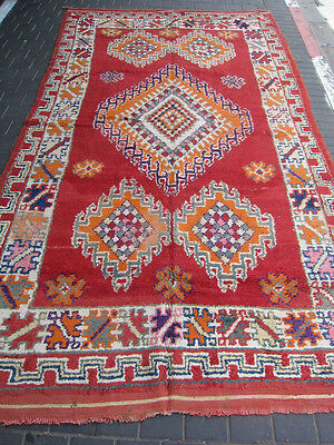 ORIGINAL ANTIQUE MOROCCAN WOOL CARPET RUG HAND MADE 330x180-cm/129.9x70.8-inches