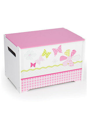 SET LETTO Girls Pink Patchwork Toy Box