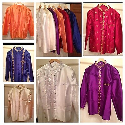 Lot Of 6 Khmer Cambodia Traditional Wedding Groom Jacket Suit Shirt