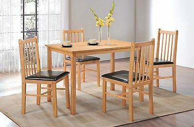 Stunning Naples Wooden Dining Table Set with 4 Chairs Walnut or Oak
