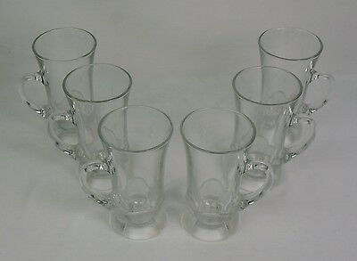 EUC Aderia Glass Crystal Irish Coffee Mugs Cups With Flower Base -Japan Set Of 6