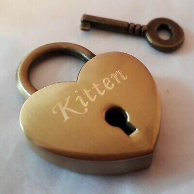 Personalised Engraved Polished 30mm Antique Brass Love Heart Padlock BDSM w/ Key