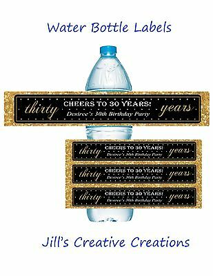 30th Birthday Water Bottle Labels, 30th Birthday, Birthday, Water Bottle Labels