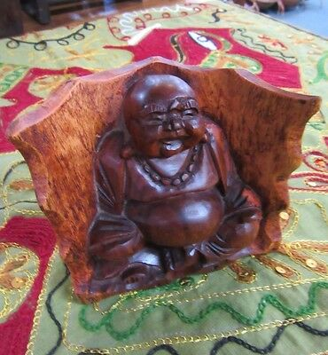 Hand Carved Happy Buddha In Cave Hardwood Ornament Home Decor 10 x 11 cm