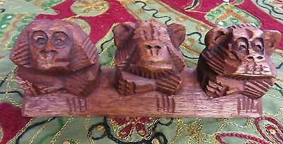Hand Carved 3 Wise Monkey Statue Hardwood Ornament 20 cm Long Home Decor