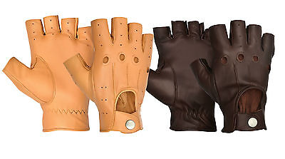 New Chauffeur Mens Top Quality Real Soft Leather Half Finger Less Driving Gloves