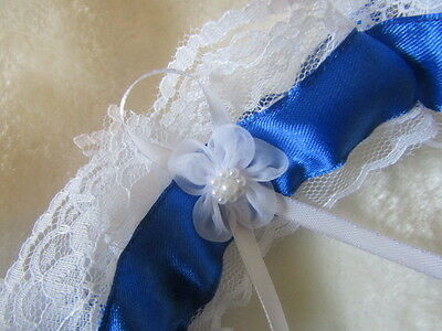 Handmade in UK Royal Blue Wedding Garter with White Lace & white flower.