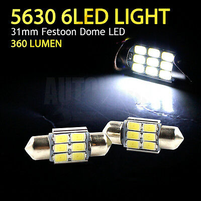2x 31mm DE3175 6-LED Step Courtesy Trunk Light For Toyota Land Cruiser 80 Series