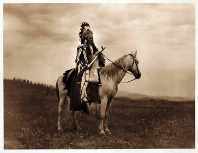 Native American Indian War Chief On Horseback Vintage Glossy Photo Reprint