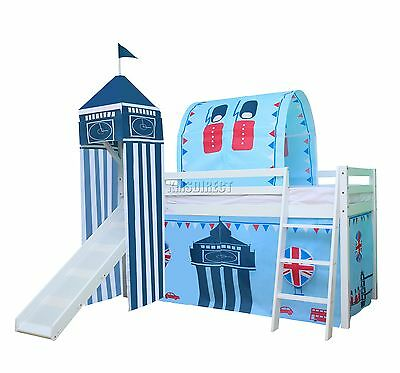 FoxHunter Children Wooden Mid Sleeper Cabin Bunk Bed Tent Single 3FT Castle Towe
