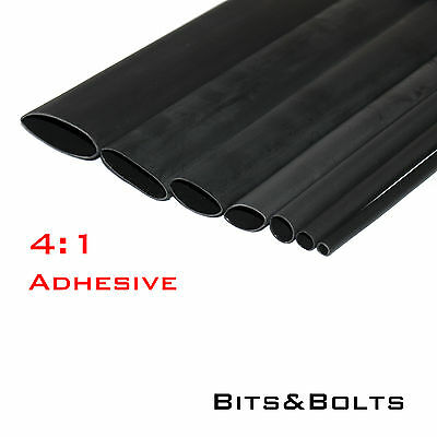 4:1 Black Adhesive Heat shrink Waterproof HeatShrink Glue Lined Tubing Sleeving