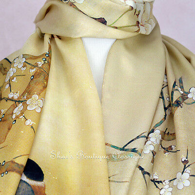 100% Real Genuine Pure Mulberry Silk Long Scarf Floral Gold Shawl Wrap Stole New
