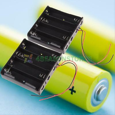 2pcs 4 Slots 4x 18650 Mobile Battery Clip Holder Case Box with Wire Lead Plastic