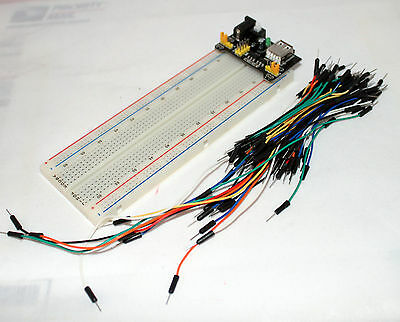 MB-102 830 Point Prototype PCB Breadboard+65pcs Jump Cable Wires+Power Supply US